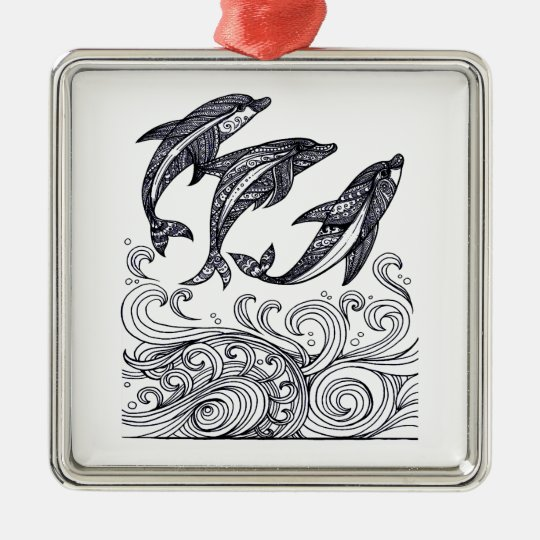 Dolphins Jumping Silver-Colored Square Decoration
