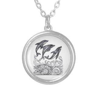 Dolphins Jumping Silver Plated Necklace