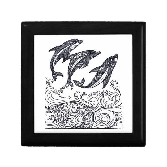 Dolphins Jumping Small Square Gift Box