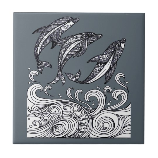 Dolphins Jumping Small Square Tile