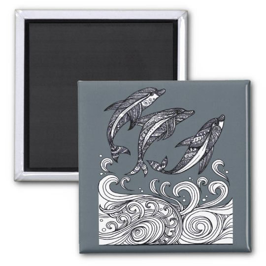 Dolphins Jumping Square Magnet