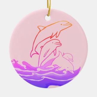 Dolphins jumping waves Circle Ornament