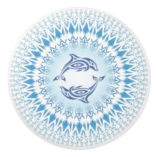 Dolphins Mandala Blue White Ceramic Knob