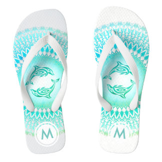 Dolphins Mandala Green White Monogram Thongs