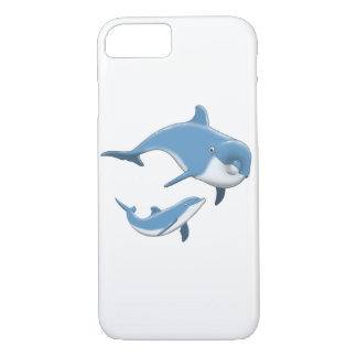 Dolphins Mother and Baby Blue White Ocean iPhone 7 Case