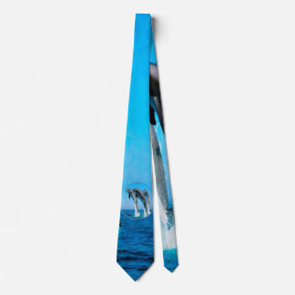 Dolphins Nautical Ocean Blue Tie