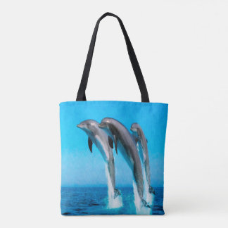 Dolphins Nautical Ocean Tote Bag