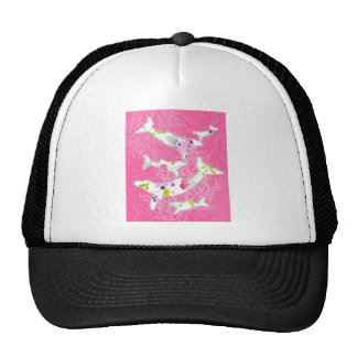 Dolphins on floral pink background. cap