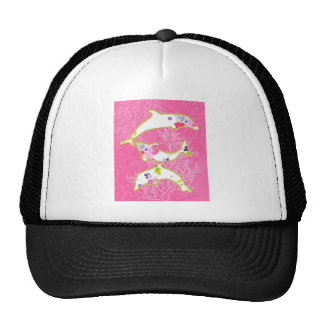 Dolphins on pink background. cap