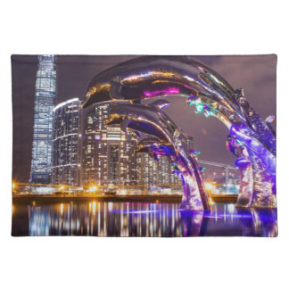 Dolphins on Urban Background Landscape Placemat
