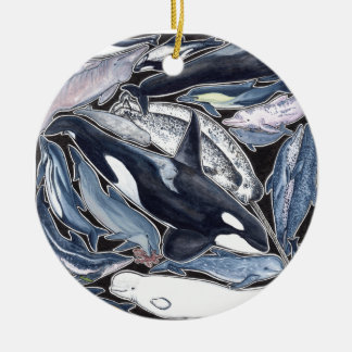 Dolphins, orcas, belugas and narvales ceramic ornament