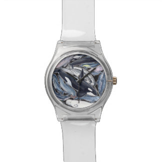 Dolphins, orcas, belugas and narvales clock wristwatch
