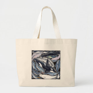 Dolphins, orcas, belugas and narvales large tote bag