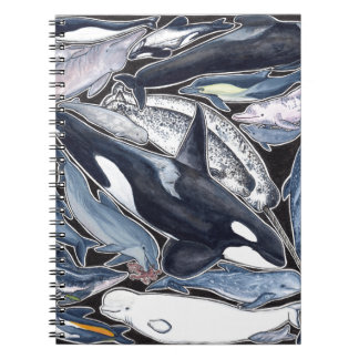Dolphins, orcas, belugas and narvales spiral notebook