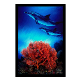 Dolphins over corals poster