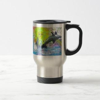 Dolphins playing in paradise travel mug