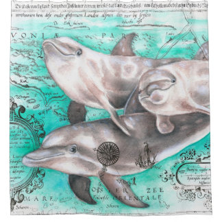 Dolphins Pod Vintage Map Shower Curtain