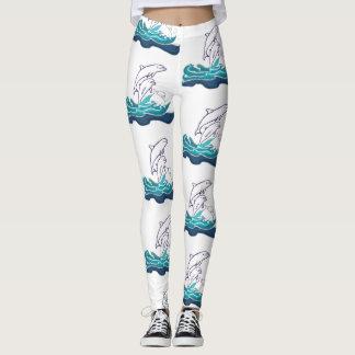 Dolphins riding Waves Custom Leggings