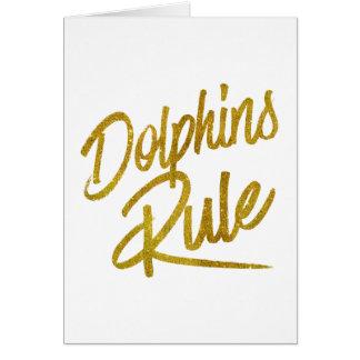 Dolphins Rule Gold Faux Foil Metallic Glitter Quot Card