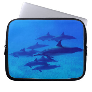Dolphins Swimming In The Blue Sea Laptop Sleeve