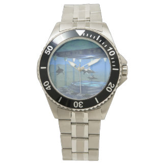 Dolphins Under Water Classic Stainless Steel Watch