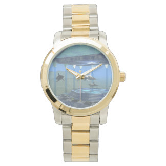Dolphins Under Water Two Tone Watch