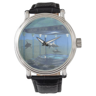 Dolphins Under Water Vintage Leather Strap Watch