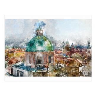 Dome in Prague Czech Republic Postcard