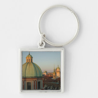 Dome of Church of Saint Francis, Prague, Czech Silver-Colored Square Key Ring
