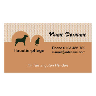 Domestic animal care pack of standard business cards