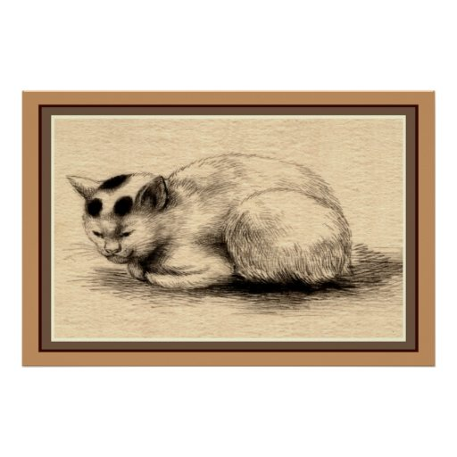 Domestic Cat Japanese Ink Drawing Poster
