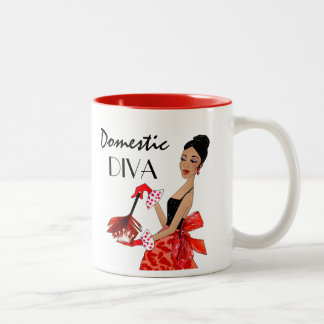 """Domestic Diva"" Two-Tone Coffee Mug"