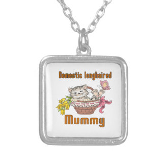 Domestic longhaired Cat Mom Silver Plated Necklace