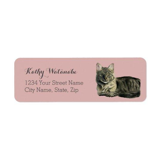 Domestic Medium Hair Cat Watercolor Painting Return Address Label