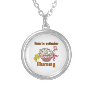 Domestic mediumhair Cat Mom Silver Plated Necklace