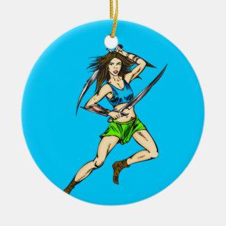 Dominant Amazon Women Double-Sided Ceramic Round Christmas Ornament