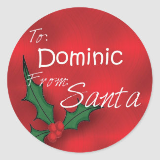 Dominic Personalised Holly Label41 Round Sticker