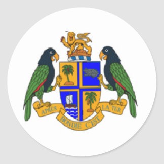 Dominica coat of arms classic round sticker