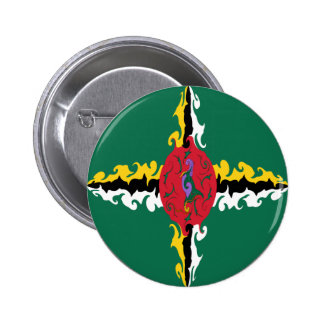 Dominica Gnarly Flag Pinback Buttons