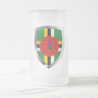 Dominica Mettalic Emblem Frosted Glass Beer Mug