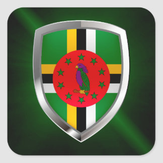 Dominica Mettalic Emblem Square Sticker
