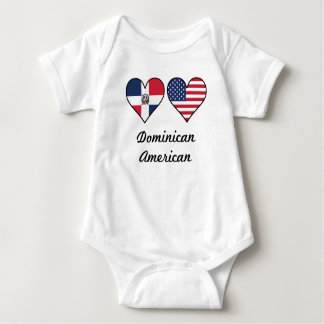 Dominican American Flag Hearts Baby Bodysuit