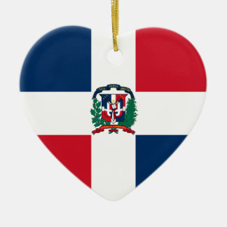 Dominican flag all over design ceramic heart decoration