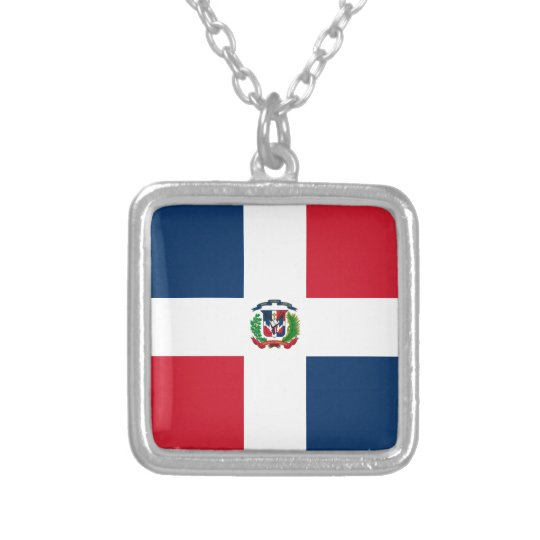 Dominican Flag Silver Plated Necklace
