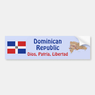 Dominican Rep. Flag and Map Bumper Sticker
