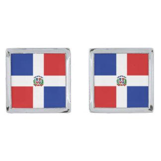 Dominican Rep. Flag Cufflinks Silver Finish Cufflinks