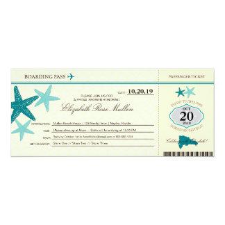 Dominican Republic Bridal Shower Boarding Pass 10 Cm X 24 Cm Invitation Card