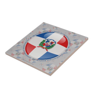 Dominican Republic Bubble Flag Ceramic Tile