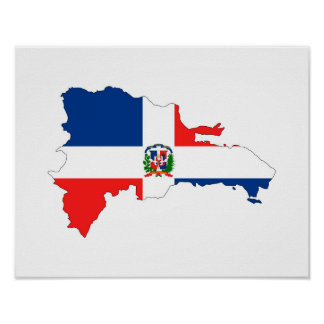 dominican republic country flag map shape symbol poster