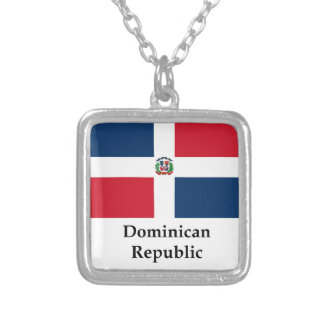 Dominican Republic Flag And Name Silver Plated Necklace